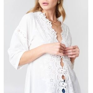 NWT Free People To The Moon Embroidered Shirt